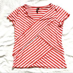 Red White Striped Short Sleeve Knit Top SzL $10